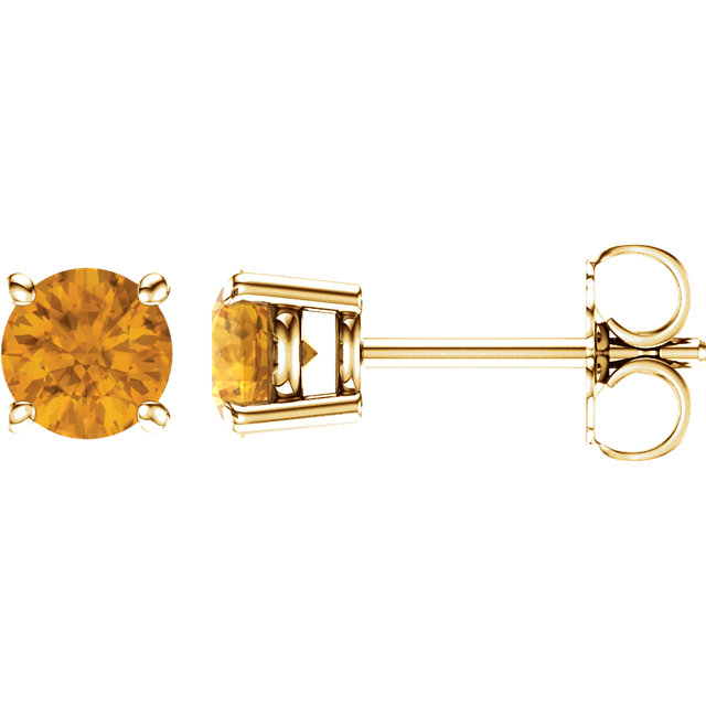 14KT Yellow Gold 5mm Round Citrine Earrings