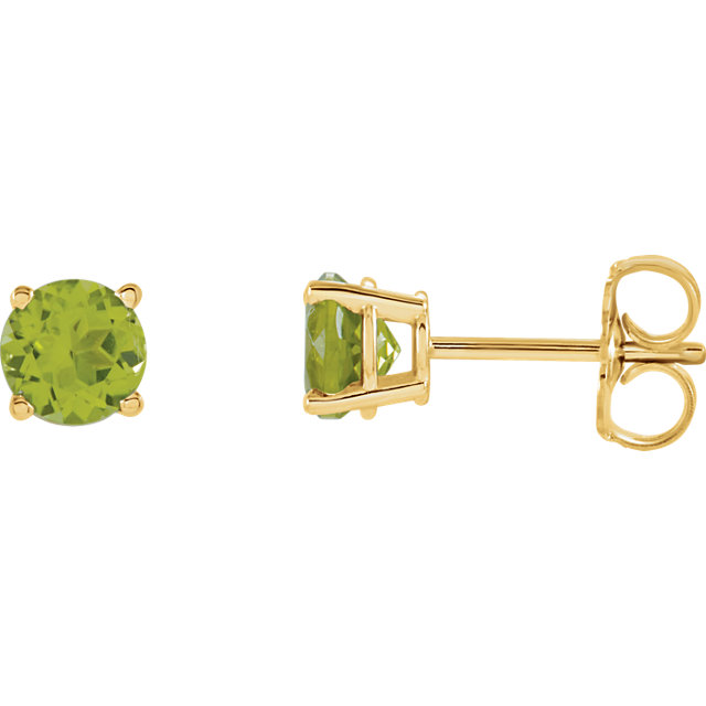 14KT Yellow Gold 5mm Round Peridot Earrings