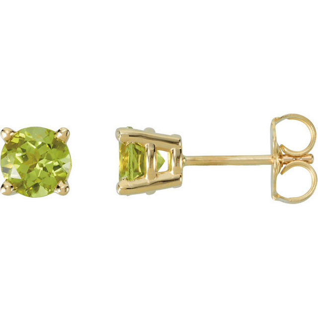 14KT Yellow Gold 5mm Round Peridot Friction Post Stud Earrings