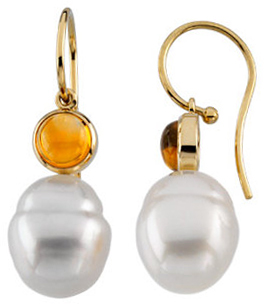 14KT Yellow Gold 6mm Round Citrine Dangle Earrings