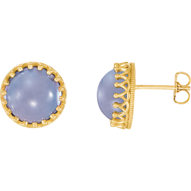 14KT Yellow Gold 8mm Round Blue Chalcedony Earrings