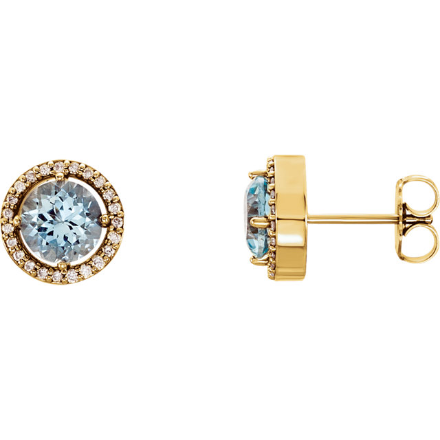14KT Yellow Gold Aquamarine & 1/10 Carat Total Weight Diamond Earrings