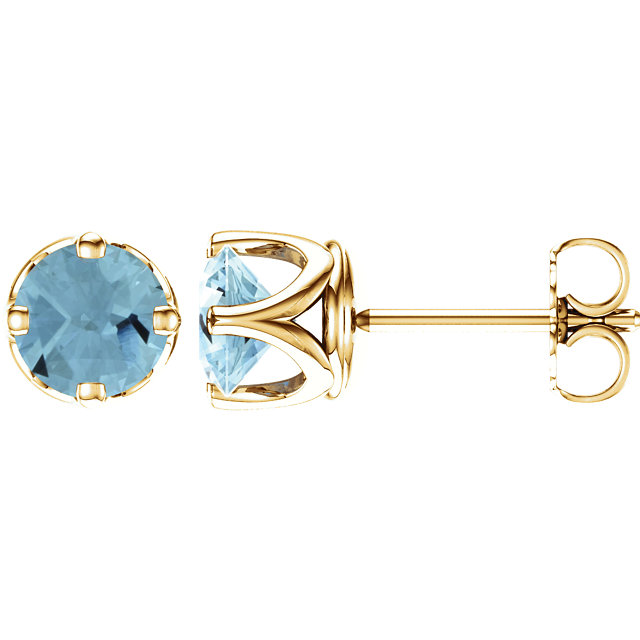 14KT Yellow Gold Aquamarine Earrings