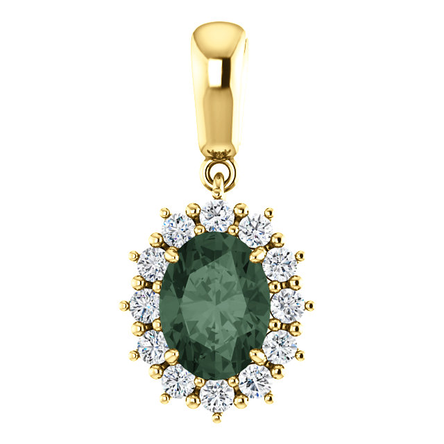 14KT Yellow Gold Chatham Created Alexandrite & 1/3 Carat Total Weight Diamond Pendant