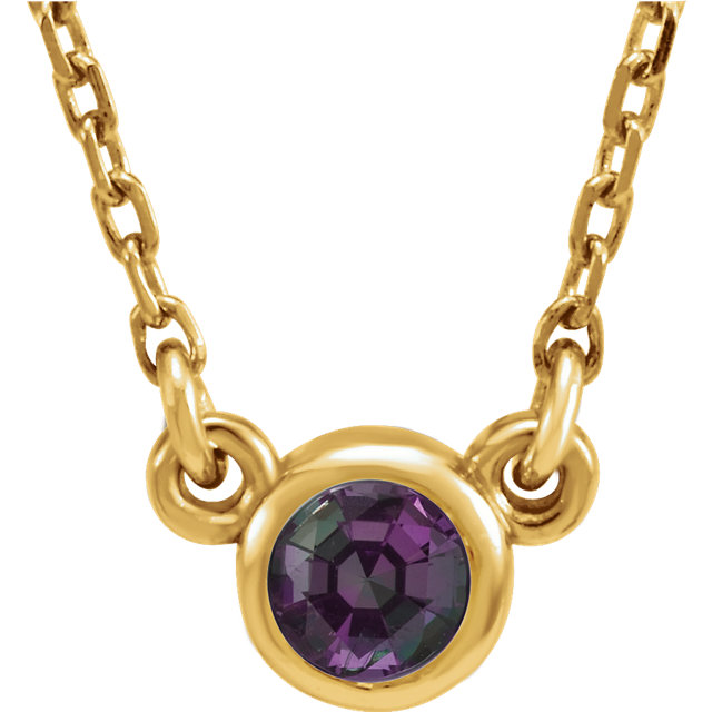 14KT Yellow Gold Chatham Created Alexandrite 16