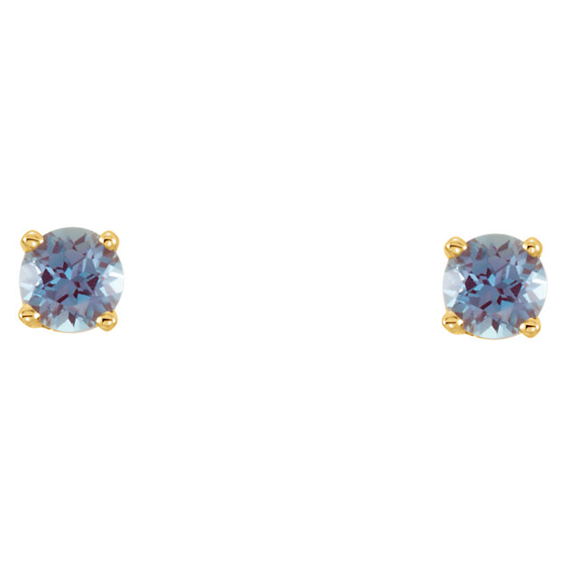 14KT Yellow Gold Chatham Created Alexandrite Youth Earrings