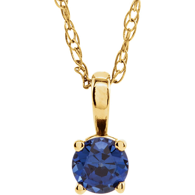 14KT Yellow Gold Chatham Created Blue Sapphire