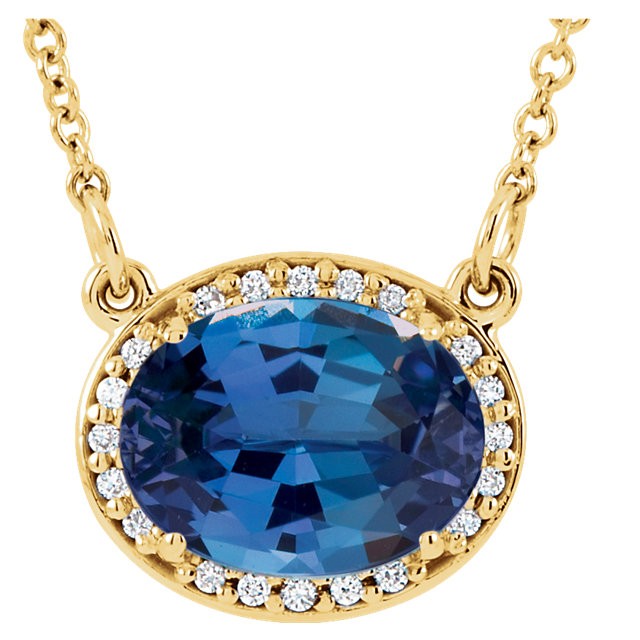 14KT Yellow Gold Chatham Created Blue Sapphire & .05 Carat Total Weight Diamond 16.5