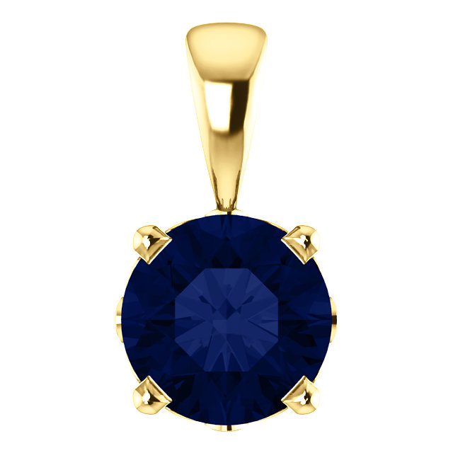 14KT Yellow Gold Chatham Created Blue Sapphire Pendant