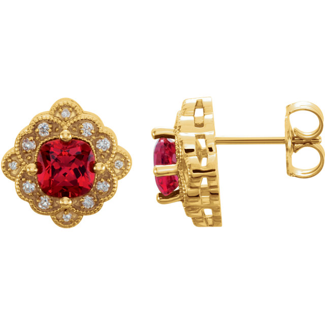 14KT Yellow Gold Chatham Created Ruby & 1/10 Carat Total Weight Diamond Earrings