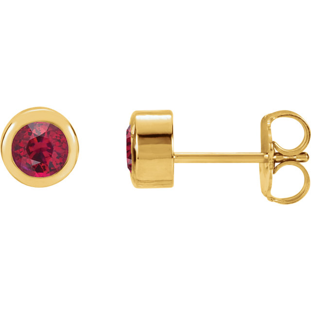 14KT Yellow Gold Chatham Created Ruby Earrings