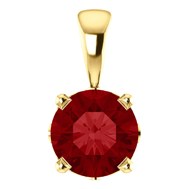 14KT Yellow Gold Chatham Created Ruby Pendant