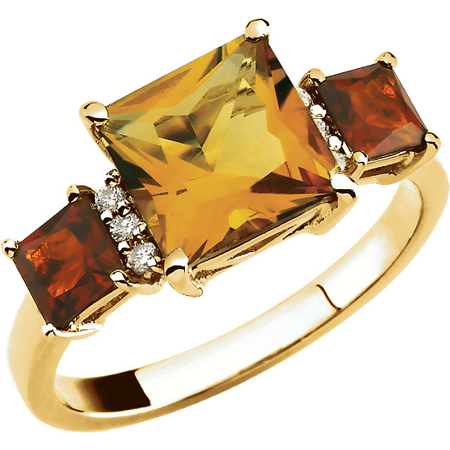 14KT Yellow Gold Citrine & .06 Carat Total Weight Diamond Ring