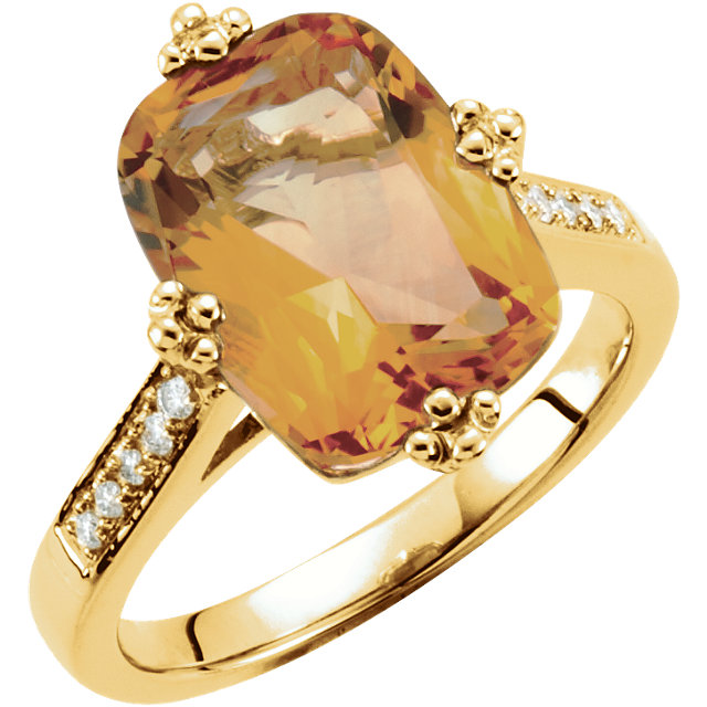 14KT Yellow Gold Citrine & .08 Carat Total Weight Diamond Ring