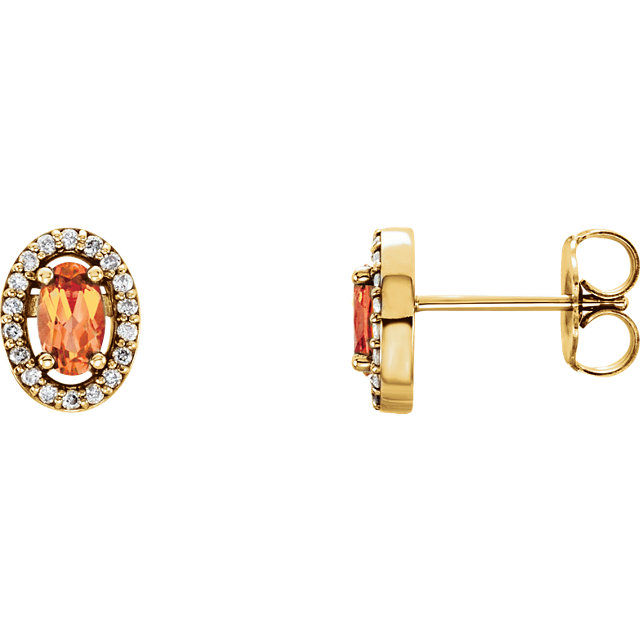14KT Yellow Gold Citrine & 1/10 Carat Total Weight Diamond Earrings
