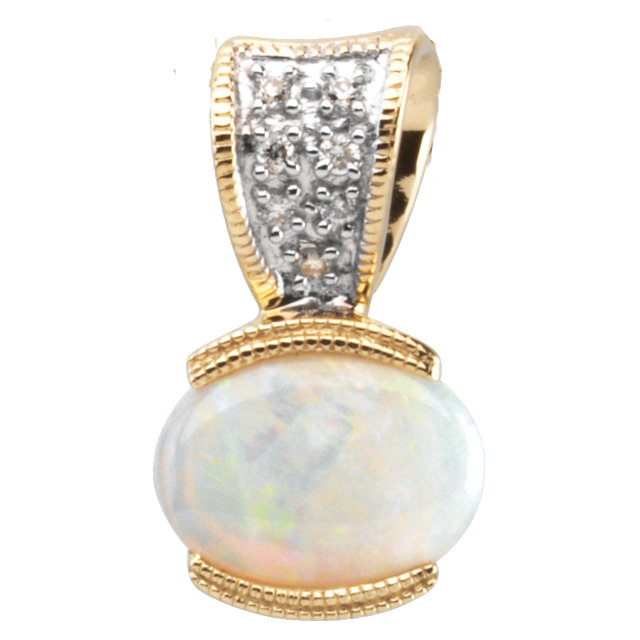 14KT Yellow Gold Opal & .04 Carat Total Weight Diamond Pendant