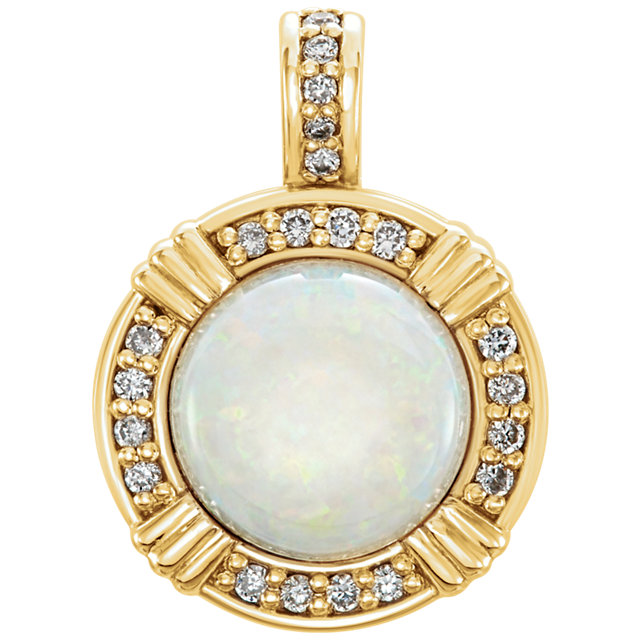 14KT Yellow Gold Opal & 1/10 Carat Total Weight Diamond Pendant