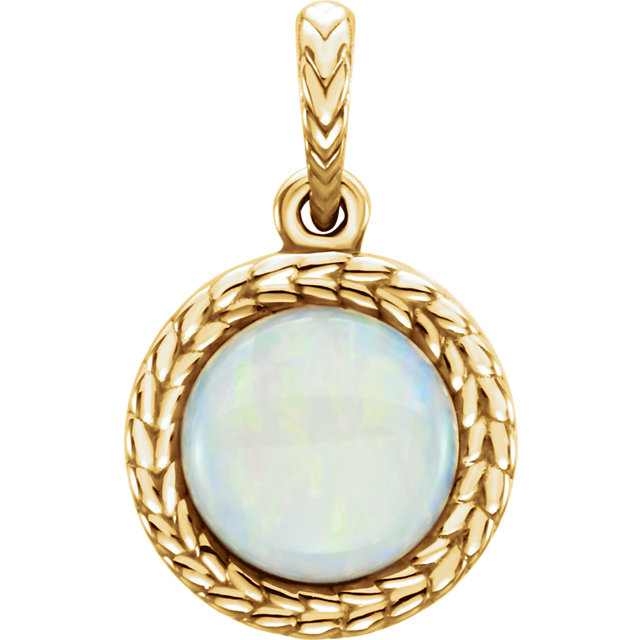 14KT Yellow Gold Opal Pendant
