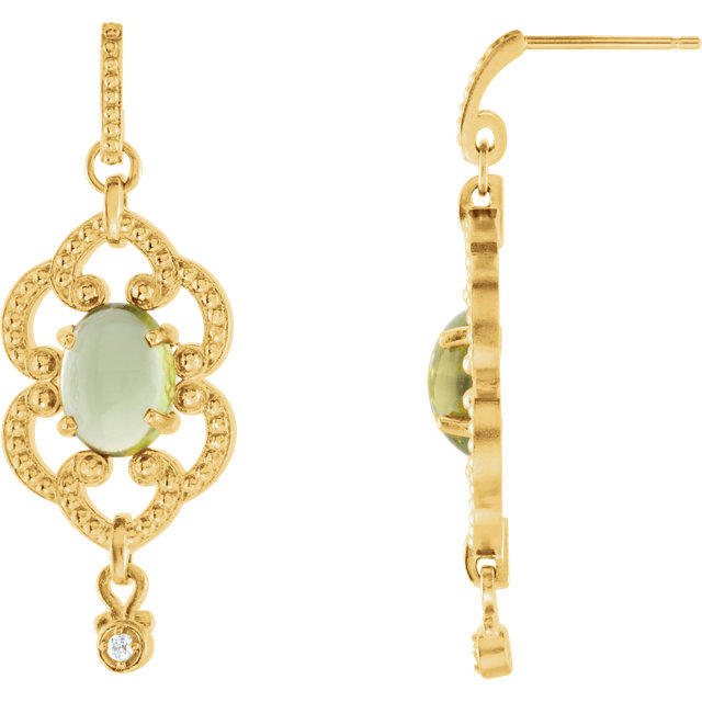 14KT Yellow Gold Peridot & .03 Carat Total Weight Diamond Earrings
