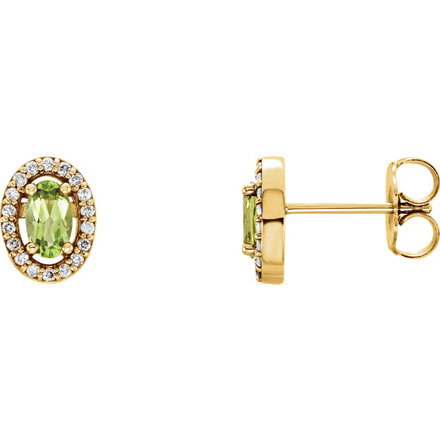 14KT Yellow Gold Peridot & .08 Carat Total Weight Diamond Earrings
