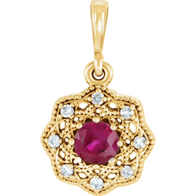 14KT Yellow Gold Ruby & .06Carat Total Weight Diamond Halo-Style Pendant