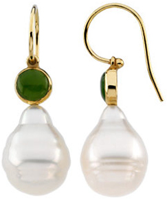 14KT Yellow Gold South Sea Cultured Pearl & Nephrite Jade Earrings