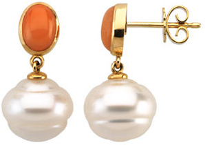 14KT Yellow Gold South Sea Pearl & Coral Earrings