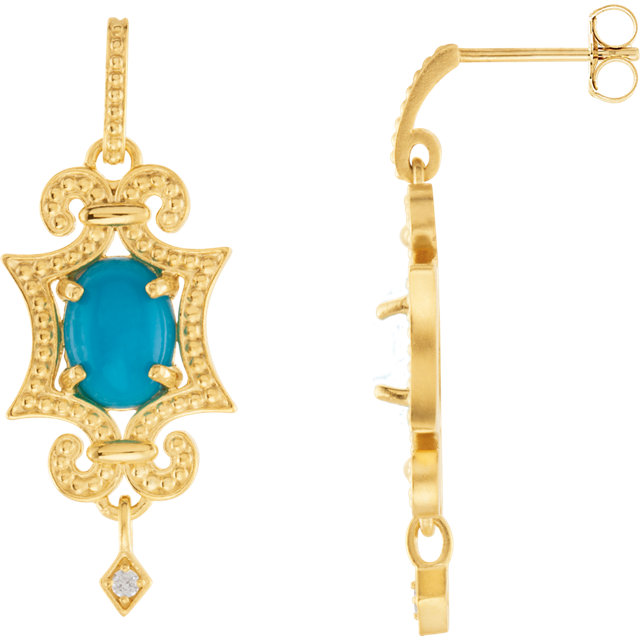 14KT Yellow Gold Turquoise & .03 Carat Total Weight Diamond Earrings