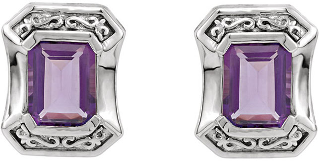 Bezel Earrings Mounting With Scroll Detailing for Emerald Shape Centergems Sized 8.00 x 6.00 mm - Customize Metal or Gem Type