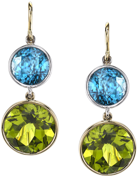 Blue Green Beautiful Wire Back Dangle Earrings in 18kt Gold - Blue Zircon & Peridot Gems