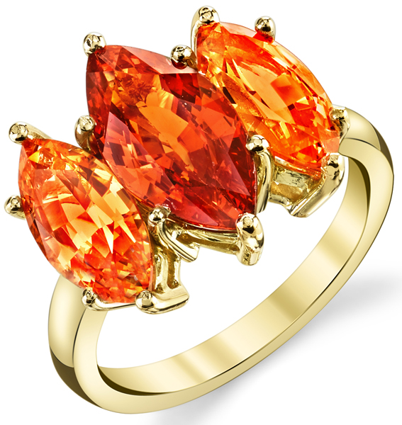 Bright & Bold 18kt Yellow Gold Triple Marquise Garnet Gemstone Ring - Hessonite & Spessartite Garnets