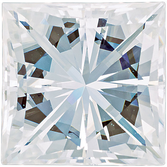 Forever One Moissanite Near Colorless Square Brilliant Cut