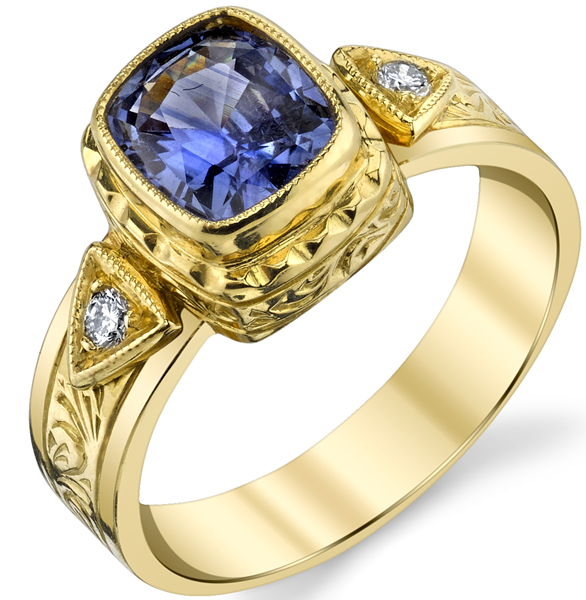 Gorgeous Hand Made Bezel Set 1.60ct Rectangle Violet Sapphire Ring in 18kt Yellow Gold - Diamond Accents