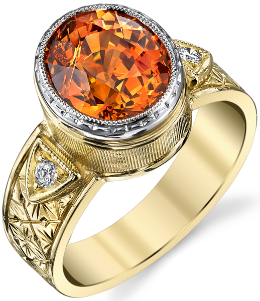Handmade Bold 2-Tone 18kt Gold 5.4 carat Rich Orange Spessartite Ring With Diamond Accents & Ornate Metal Detail