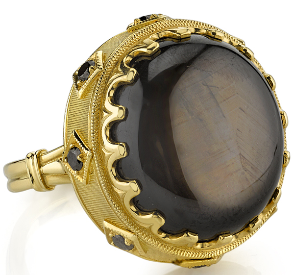 Huge 34.70 Oval Black Star Sapphire Handmade Statement Ring in 18kt Yellow Gold - 8 Black Diamond  Accents