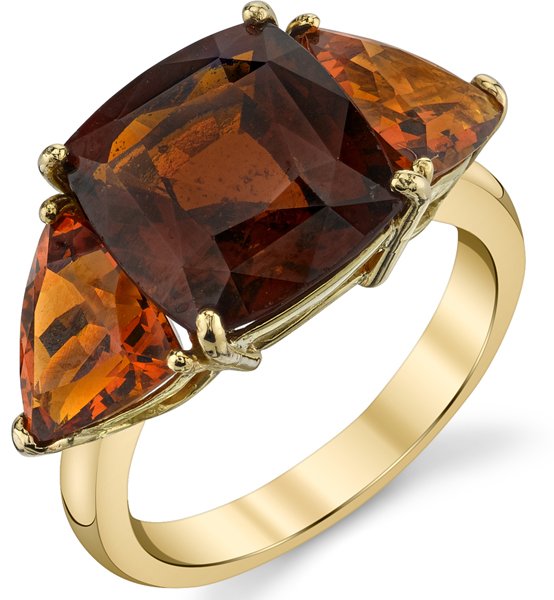 Incredible 18kt Yellow Gold Handmade Cushion Hessonite Garnet & Trillion Spessartite Garnet 3-Stone Ring