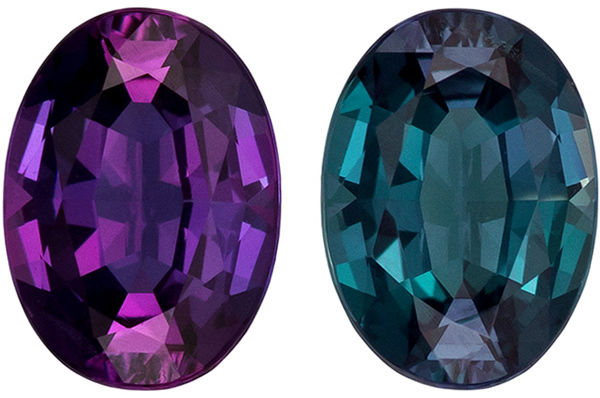 Loose Color Change Alexandrite in Oval Cut, Dramatic Change from Burgundy Eggplant to Teal Blue Colors, 5.5 x 4 mm, 0.42 carats