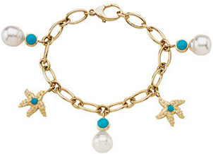 Paspaley South Sea Cultured Pearl & Genuine Turquoise Charm Bracelet