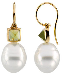 Square Peridot Semi-mount Earrings for Pearls
