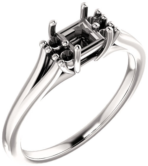 Square Ring Mounting With 4 Side Accents - Shape Centergems Sized 4.00 mm to 10.00 mm - Customize Metal, Accents or Gem Type