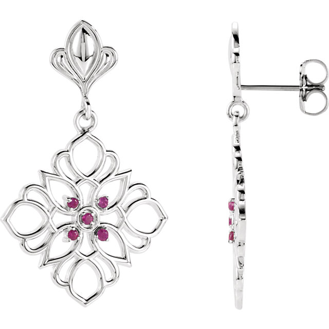Sterling Silver & 14KT White Gold Ruby Decorative Earrings