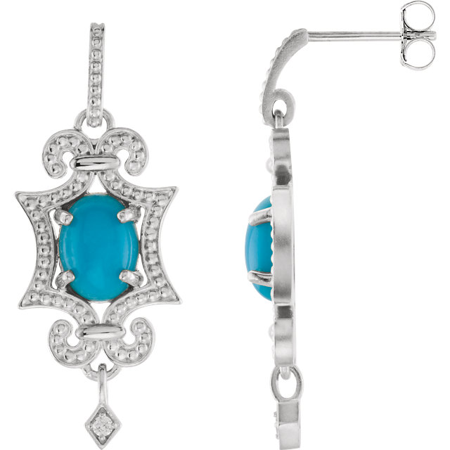 Sterling Silver & 14KT White Gold Turquoise & .03 Carat Total Weight Diamond Earrings