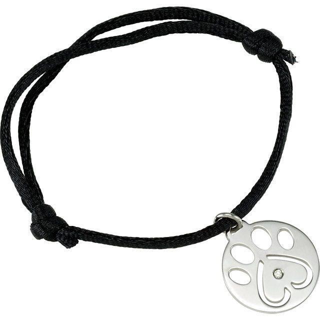 Sterling Silver .02 Carat Total Weight Diamond Dog Paw Black Cord 6.5-8