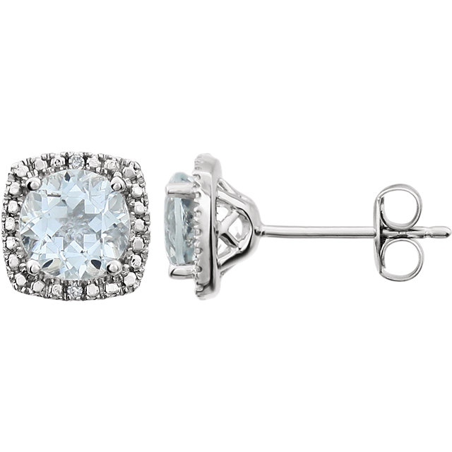 Sterling Silver 6mm Aquamarine & .015 Carat Total Weight Diamond Earrings