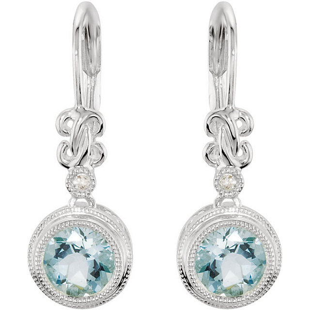 Sterling Silver Aquamarine & .02 Carat Total Weight Diamond Earrings