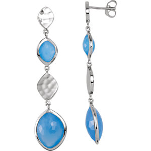 Sterling Silver Blue Chalcedony Earrings with Box