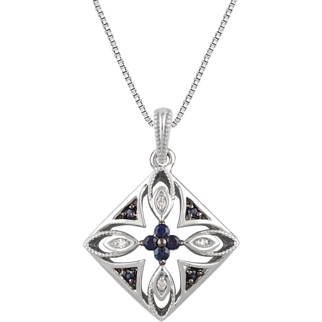 Sterling Silver Blue Sapphire & .025 Carat Total Weight Diamond 18