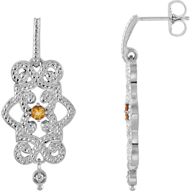 Sterling Silver Citrine & .03 Carat Total Weight Diamond Granulated Design Dangle Earrings