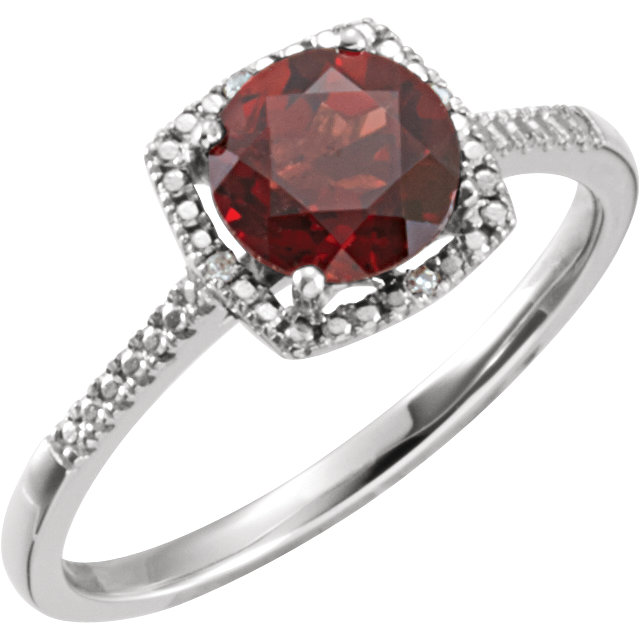 Sterling Silver Mozambique Garnet & .01 Carat Total Weight Diamond Ring