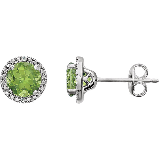 Sterling Silver Peridot & .01 Carat Total Weight Diamond Earrings